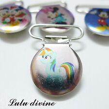 1 Pince bretelle, Attache tétine & doudou métal, My little Pony Rainbow Dash