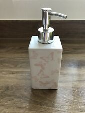 White Ceramic Soap Dispenser With Pink Butterflies