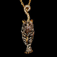 Pendant +Long Chain Necklace Tiger White Rhinestone, Black Enamel Gold Coloured