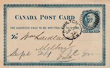 Canada HAMILTON CW Split Ring Barred Oval 5 Queen Victoria 1c Post Card 1872