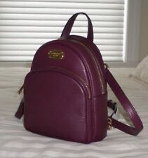 NWT Michael Kors ABBEY XS Leather Backpack Crossbody Bag PLUM Purple 38F7XAYB1L