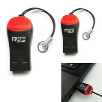 For Laptop PC 2X USB 2.0 Micro SD SDHC TF Flash Memory Card Reader Mini Adapter