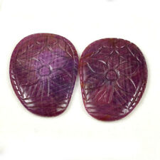 124 Cts/2 Pcs Certified Natural Unheated Ruby Pair for Earrings Moghul Carving