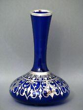 Friedrich Wilhelm Spahr Silber Silver Overlay Kobaltblau Glas Vase um 1920