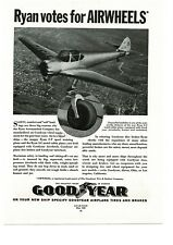 1938 GOODYEAR Airplane Tires on RYAN S-T Sport Training Plane VTG PRINT AD