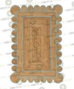 Scallop Jute Beach Hand Made Rug, Bohemian Decor , Customize in Any Size