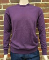 Men`s Jumper Crew Neck Cotton Blend Size Medium Purple Ex-M&S Pullover