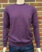 Men`s Jumper Crew Neck Cotton Blend Size Medium Purple Ex-M&S Pullover