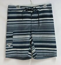 Columbia PFG Mens 34 Blue White Striped Polyester Fishing Board Shorts