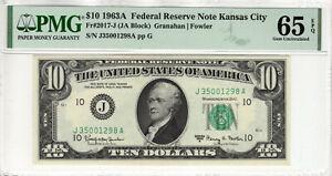 1963 A $10 FEDERAL RESERVE NOTE KANSAS CITY FR.2017-J PMG GEM UNC 65 EPQ (298A)