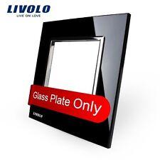 1 Fach Glasrahmen Schwarz für Livolo Einsätze Steckdose Lichtschalter USB LAN