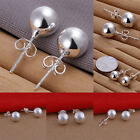 Tiny Round Pearl Ear Stud Earrings 925 Sterling Silver Round - Three Sizes