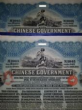 1913 Chinese reorganization gold loan bond 100L