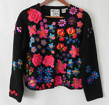 Michael Simon Cardigan Sweater Size P/P Floral, Jeweled, and Embroidered
