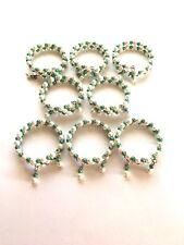 New listing Napkin Rings. Greean And White. Beaded Handmade