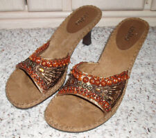 RIALTO 'INDIO' Beaded High Heel Slide Sandals~Brown/Gold~Size 8.5M