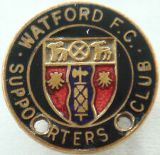 WATFORD FC Vintage SUPPORTERS CLUB Badge Brooch pin In gilt 19mm Dia