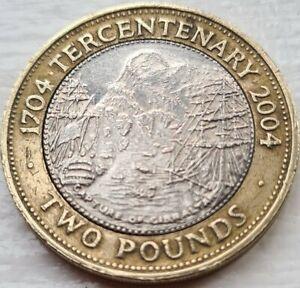 2004 Gibraltar Tercentenary Two 2 Pound Coin Rare!!