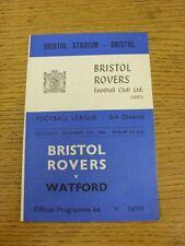10/12/1966 Bristol Rovers V Watford. questo oggetto è stato ispezionato, qualsiasi qualsiasi OBV