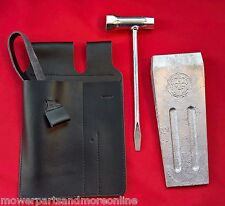 CHAINSAW LEATHER WEDGE AND TOOL POUCH, SPANNER AND WIDE 7 INCH ALLOY WEDGE KIT