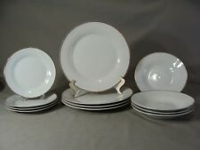 12 Pcs Porcelain Dinnerware Set By Holiday Time, White With Gold Band