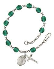 December Birth Month Bead Rosary Bracelet with St Joan of Arc Petite Charm