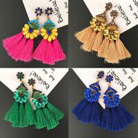 Women Bohemian Earrings Long Tassel Fringe Drop/Dangle Ear Stud Jewelry Fashion