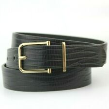 M&S Black Textured Synthetic Belt Size Medium Gold Buckle
