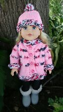 American Girl Style Doll Hand Knit Sweater and Hat Set Pink Mixed Colour Trim