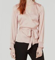 New $99 Bar Iii Women's Pink Satin Belted V-Neck Long-Sleeve Casual Top Size M
