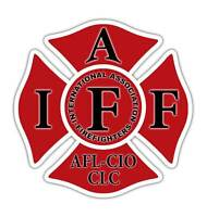 Red IAFF Decal Firefighter Maltese Cross Sticker International 10 Pack Free Ship