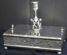 Antique B Meriden Silverplate 2X Figural Putti Humidor Cigar Box Candle Lighter