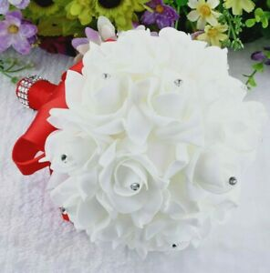 Handmade Bouquet Wedding Artificial Silk Flowers Rose Bridesmaid Foam Bridal