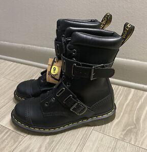 Dr. Martens Quynn Black Leather Double Buckle Combat High Top Boots Men's Sz 9