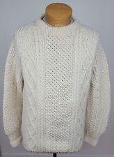 Mens Cable Irish Fisherman Sweater Ireland 100% Pure Wool Jumper Crew Neck