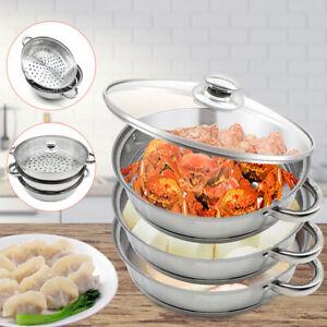 3 Tier 27.3cm Steamer Stainless Steel Kitchen Cookware Cooking Steam Pot Cooker