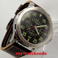 44mm Parnis black dial red GMT Sapphire glass seagull Automatic Mens Watch P777