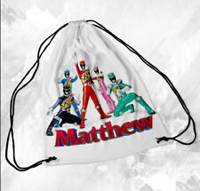 Personalised Drawstring Bag Any Name Power Rangers School Nursery PE Sports 2