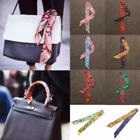 AU Women Silk Twill Mini Graffiti Scarf Lady Handbag Handle Hairband Neck Decor