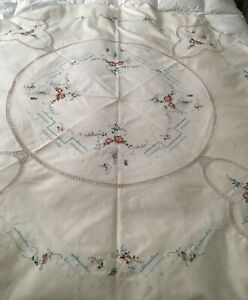 """64""""D HANDMADE NATURAL COTTEN TABLECLOTH CROSS STITCH, EMBROIDERY, SMOCK, CROCHET"""