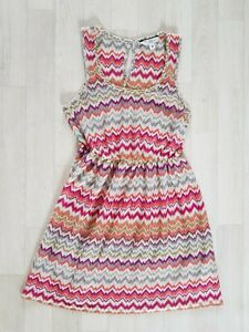 NEW LOOK size 8 zig zag LONG TOP / SHORT DRESS purple ORANGE sheer GREY