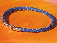 Ladies / mens 4mm  Blue leather & sterling silver bracelet by Lyme Bay Art.