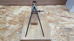 "Vintage L.S. STARRETT ATHOL, MASS USA 7"" Spring Divider Caliper Square Leg Tool"