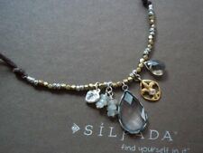"""Silpada Raindrop Sterling Silver Brass Glass Charm Necklace N2341 16"""" Cute!"""