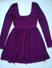 FREE PEOPLE S Purple Stretch Scoopneck Skater Fit & Flare Dress $128