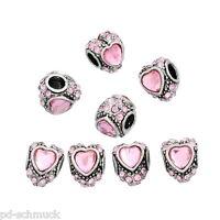 PD: 10 European Charm Beads Spacer Perlen Herz Form Rosa Strass