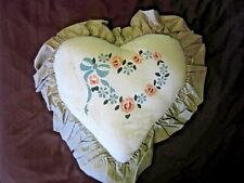 Hand Made Heart Shape Pillow~Made By Sarah~Indiana~Floral Detail