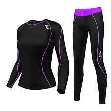 FDX Womens Compression  Base layer Top Skin Fit Shirt + Leggings pants set tight