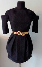 PROM DRESS RIVER ISLAND Blk Bardot Style Gold Tone Belt wih Roses Uk 8 Was £50!