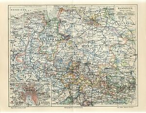 1895 GERMANY HANNOVER STATE CITY Antique Map